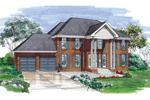 Georgian House Plan Front of Home - 062D-0492 | House Plans and More