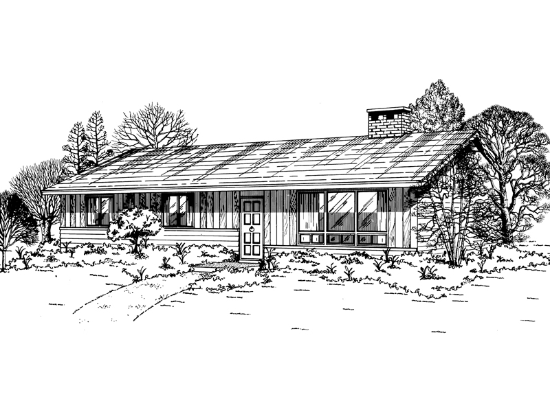 Ranch House Plan Front of Home - 062D-0495 | House Plans and More
