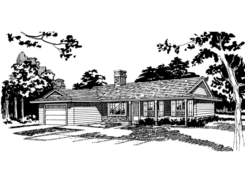 Ranch House Plan Front of Home - 062D-0496 | House Plans and More