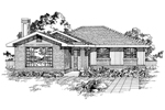 Ranch House Plan Front of Home - 062D-0498 | House Plans and More