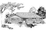 Ranch House Plan Front of Home - 062D-0499 | House Plans and More