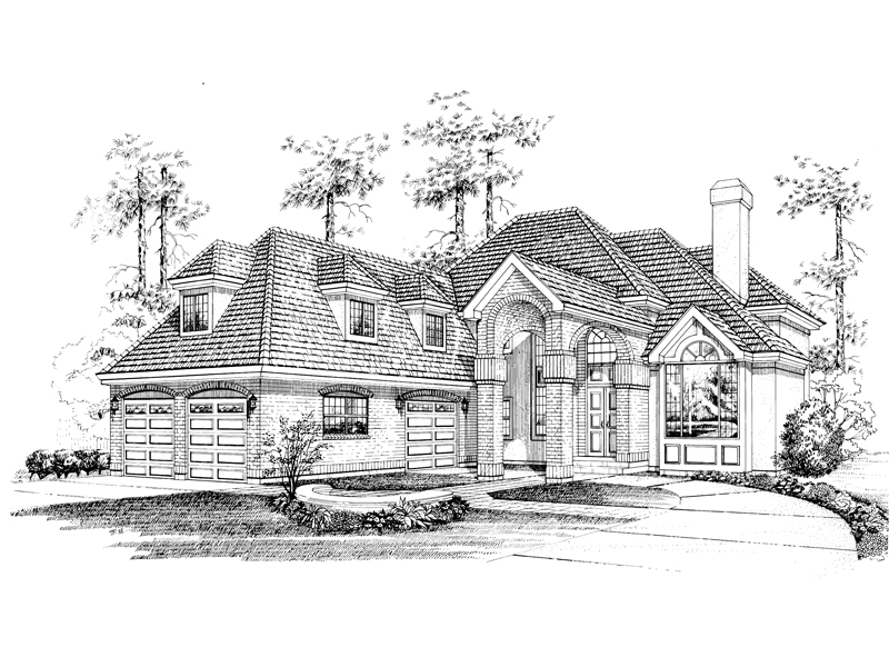 Klevhorn luxury european home plan 062d 0505 house plans for Luxury brick house plans