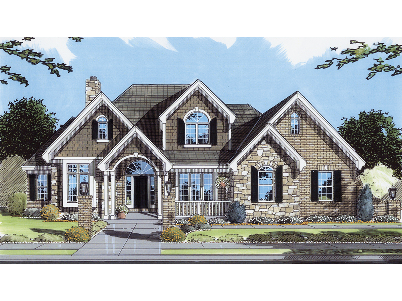 Country French Home Plan Front of Home 065D-0036