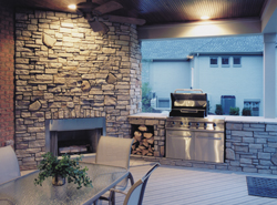 stylish covered outdoor home kitchen