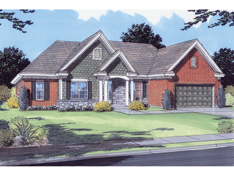 Ranch House Plan Front of Home - 065D-0049 | House Plans and More