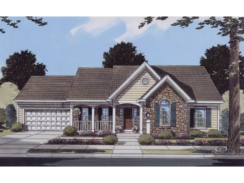 Ranch House Plan Front of Home 065D-0061