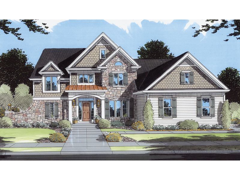 Arts and Crafts House Plan Front of Home 065D-0073