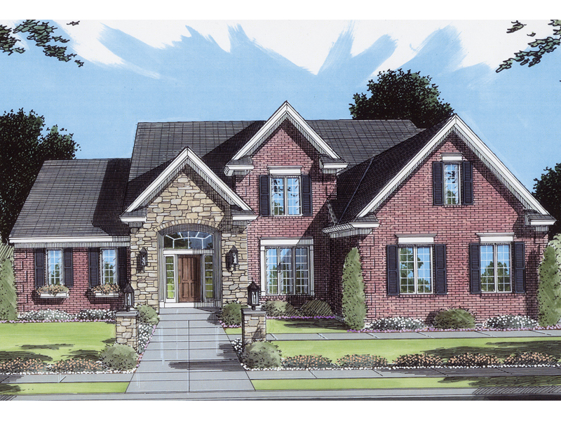 Traditional House Plan Front of Home 065D-0104