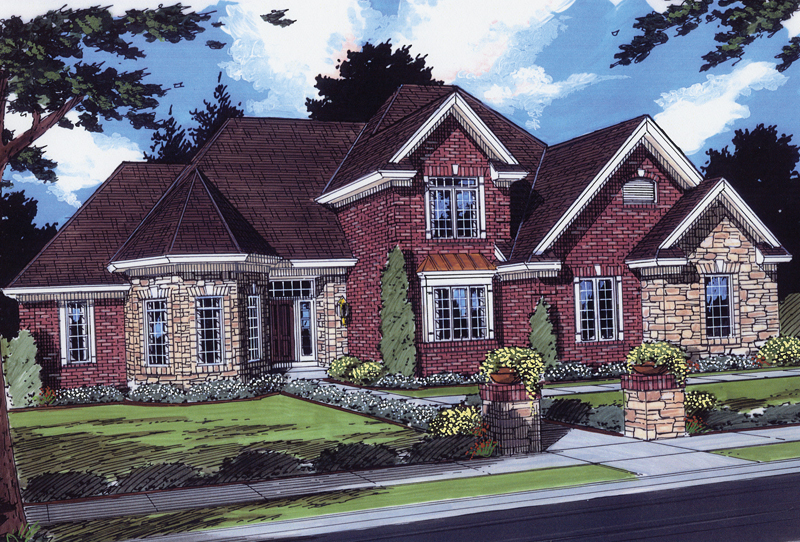European Styled, Traditional Two-Story Home