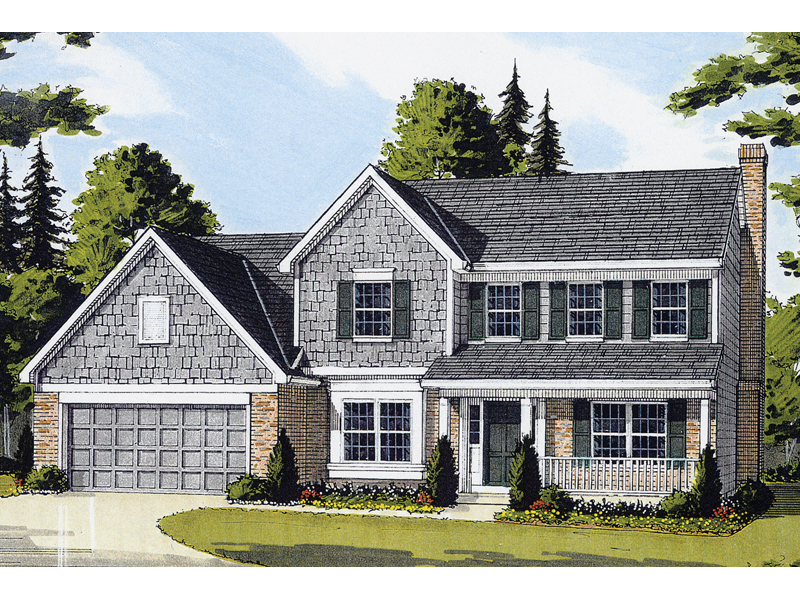 Hodelle colonial two story home plan 065d 0153 house for Two story colonial house plans