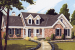 Traditional Style Ranch Home Has Dormers, Stonework And Covered Porch