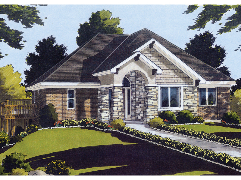 Ranch House Has Stone And Shingle Exterior And Prominent Front Entry
