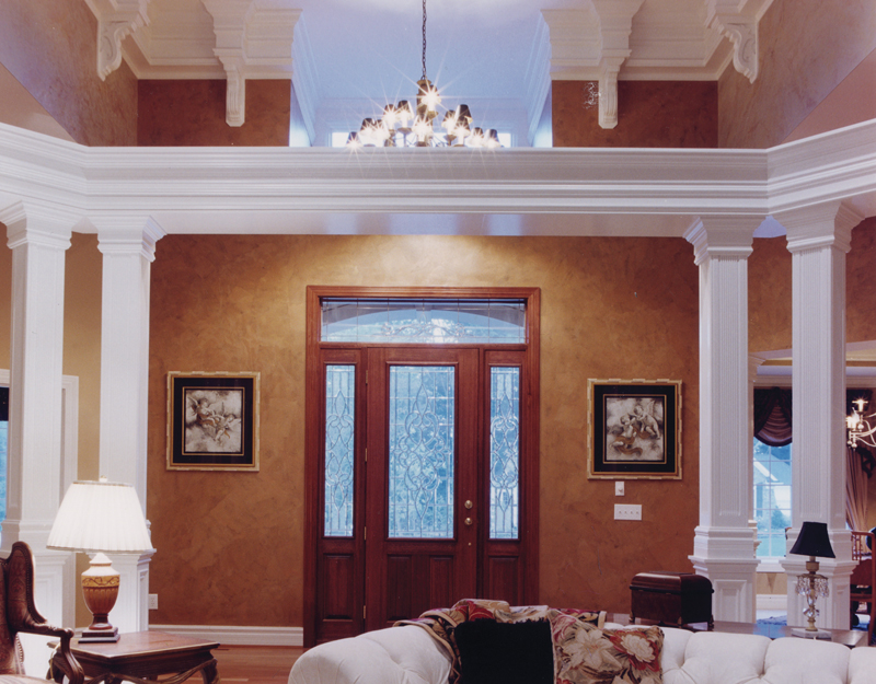 welcoming foyer showcases columns