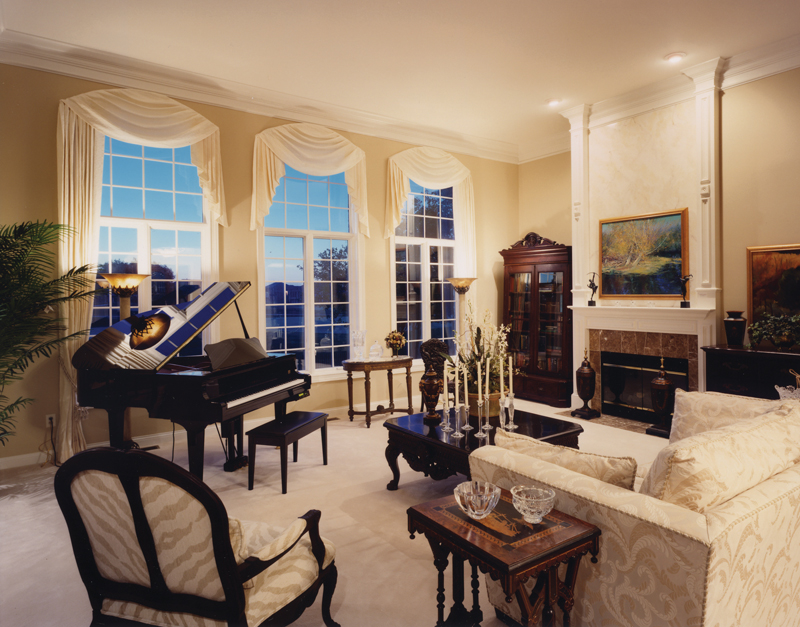 Elegance prevails in the stylish great room.