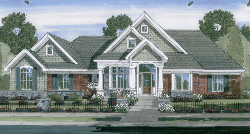 Angora shingle style ranch home plan 065d 0255 house for Sprawling ranch floor plans