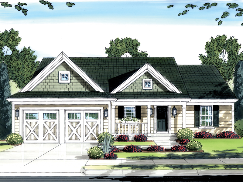Ranch House Plan Front of Home 065D-0258