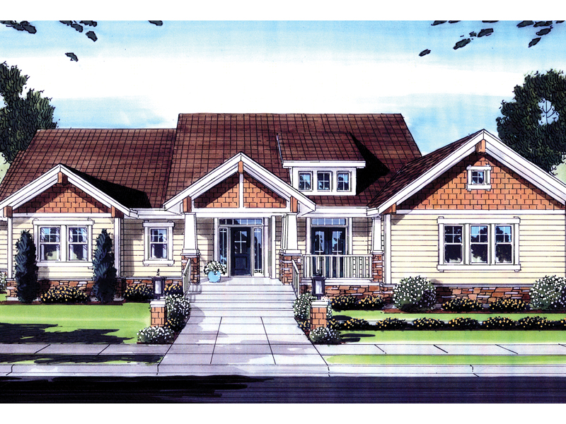 Ranch House Plan Front of Home - 065D-0264 | House Plans and More
