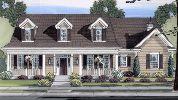 Restormel cape cod home plan 065d 0279 house plans and more for House plans with dormers and front porch