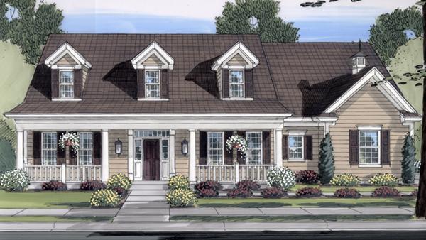 Restormel cape cod home plan 065d 0279 house plans and more Cape dormer plans