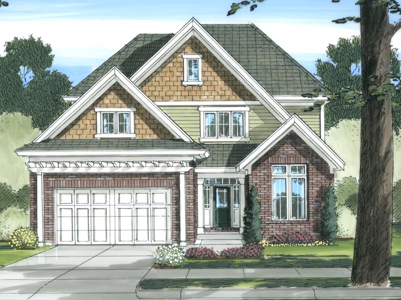 Narrow Lot Home Has Pleasing Brick & Shingle Exterior