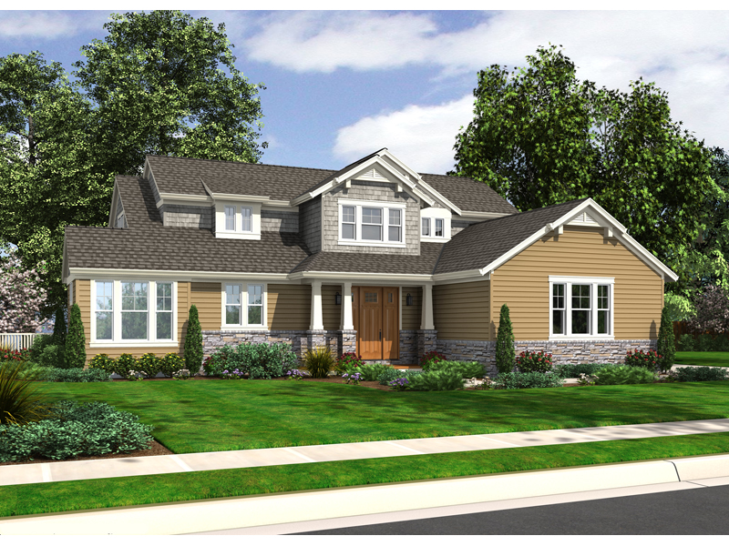 Arts and Crafts House Plan Front of Home 065D-0302
