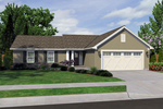 Ranch House Plan Front of Home - 065D-0308 | House Plans and More