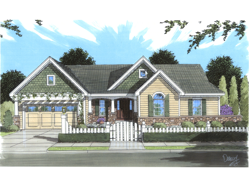 Ranch House Plan Front of Home - 065D-0341 | House Plans and More