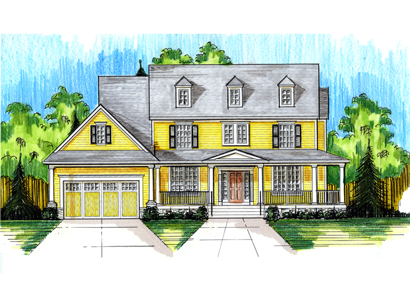 Farmhouse Plan Front of Home - 065D-0342 | House Plans and More