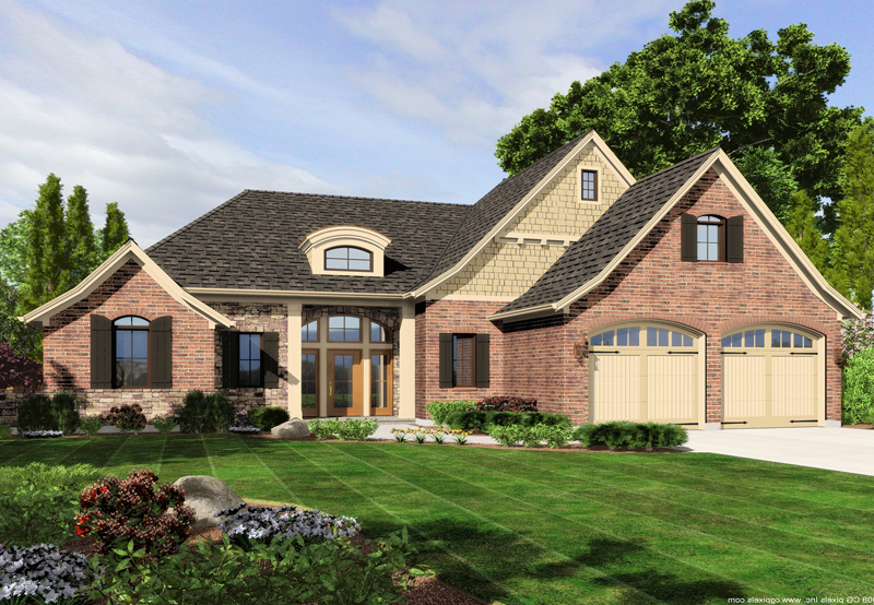 Tudor House Plan Front of Home - 065D-0345 | House Plans and More