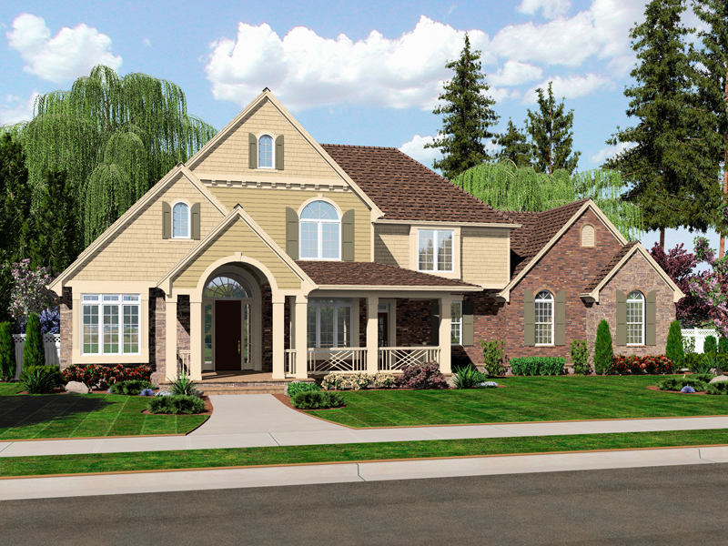 Colonial House Plan Front of Home - 065D-0350 | House Plans and More