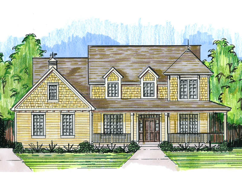 Farmhouse Plan Front of Home - 065D-0354 | House Plans and More