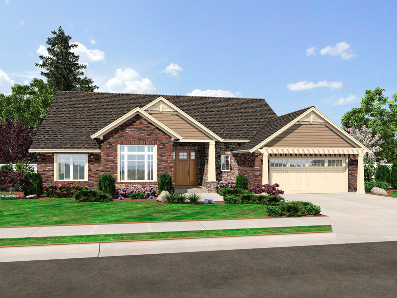 Ranch House Plan Front of Home - 065D-0355 | House Plans and More