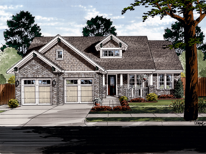 Craftsman House Plan Front of Home - 065D-0370 | House Plans and More