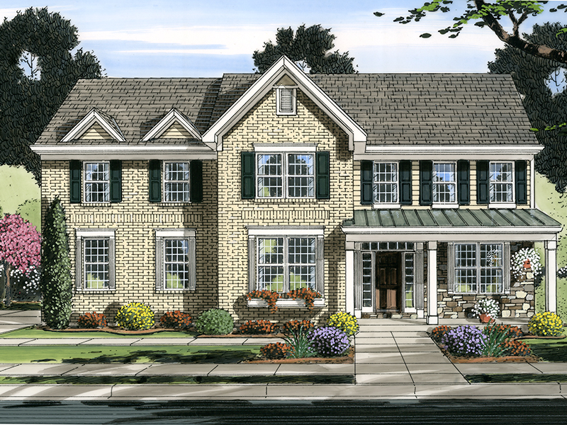 Colonial House Plan Front of Home - 065D-0371 | House Plans and More
