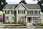 Early American House Plan Front of Home - 065D-0371 | House Plans and More