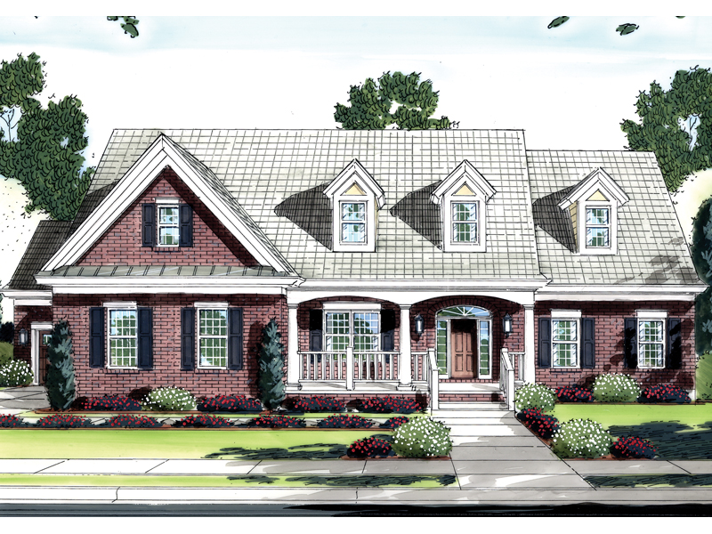 Brick Home With Inviting Covered Porch And Dormers