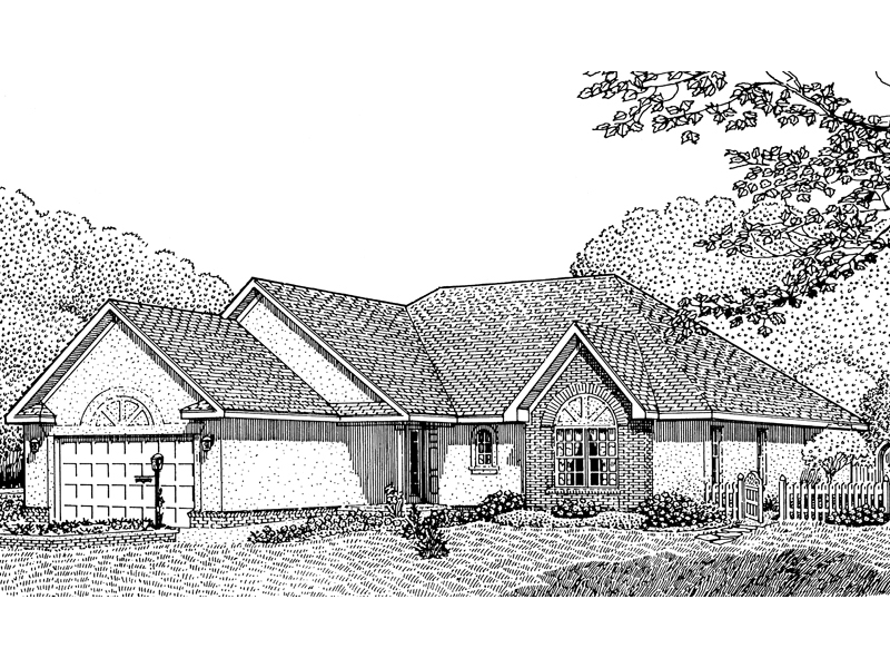 Ranch House Plan Front of Home - 067D-0002 | House Plans and More