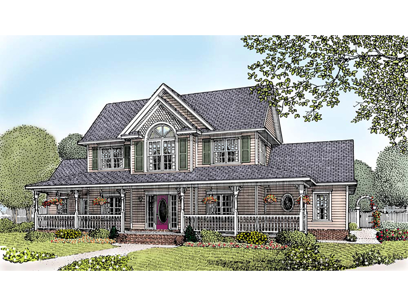luxury farmhouse style two story home with grand covered front porch - 2 Story Country House Plans