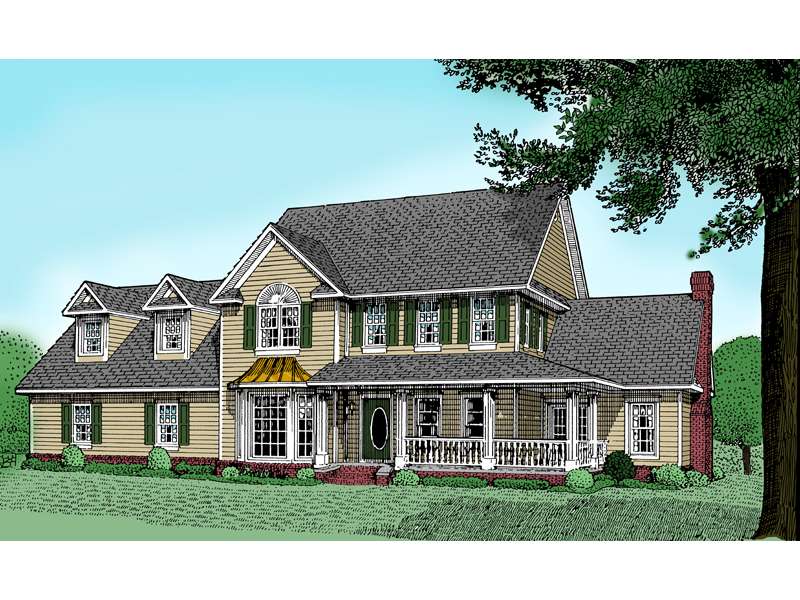 Country Style Two-Story With Wrap-Around Porch In Grand Victorian Style