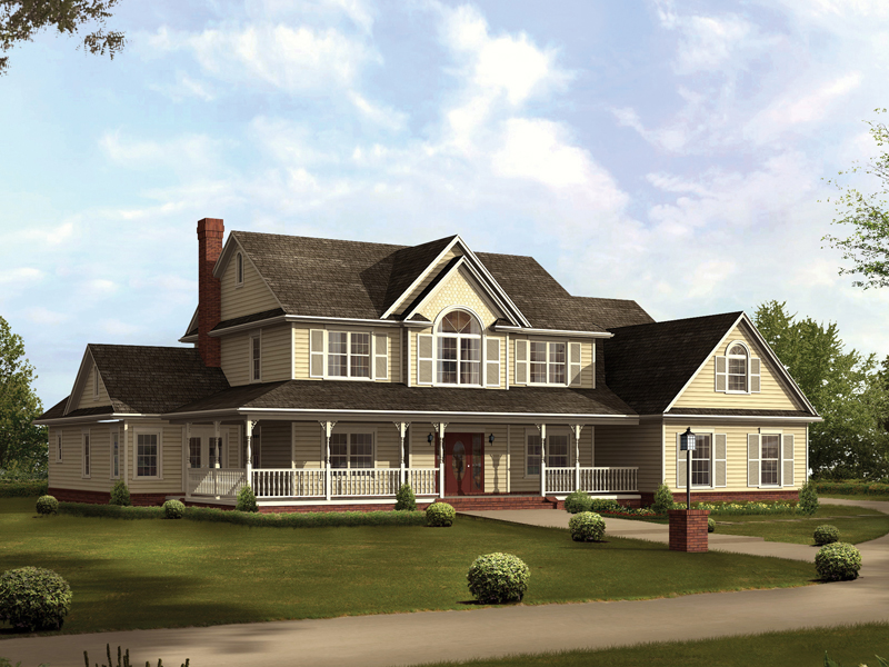 country style two story home sweeping covered porch - 2 Story Country House Plans
