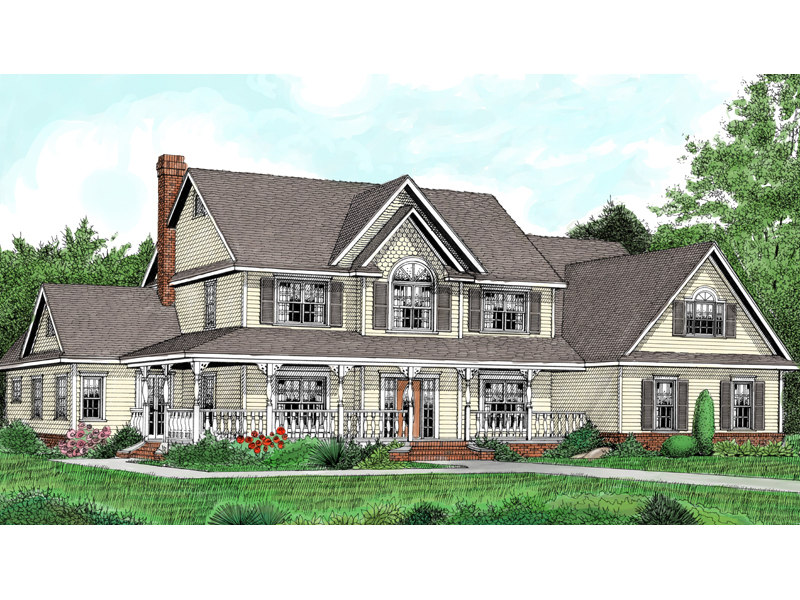 Country Two-Story House With Wrap-Around Porch