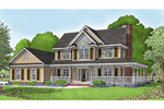 Country Farmhouse With two Stories And Covered Porch