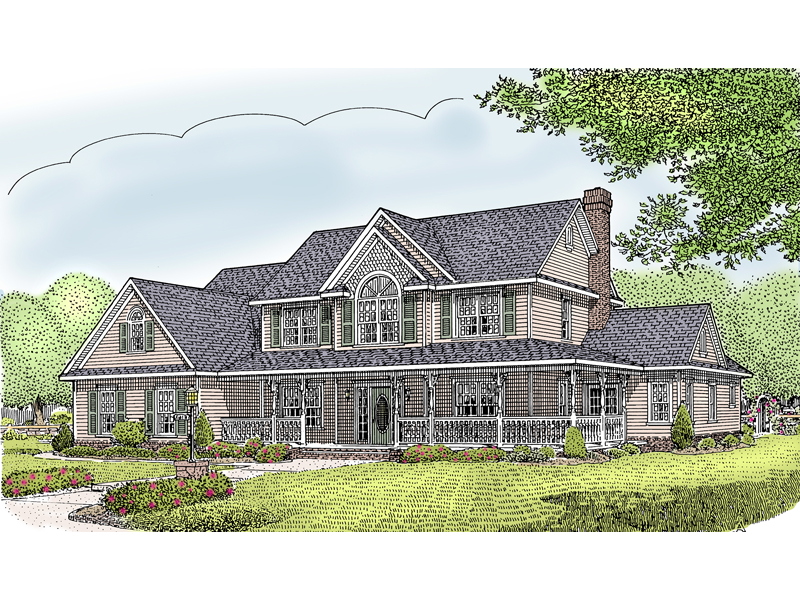 Country Style Home Has Grand Covered Porch