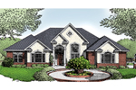 Stucco Ranch House With Brick Accents