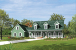 Country Style House With Covered Front Porch And Triple Dormers