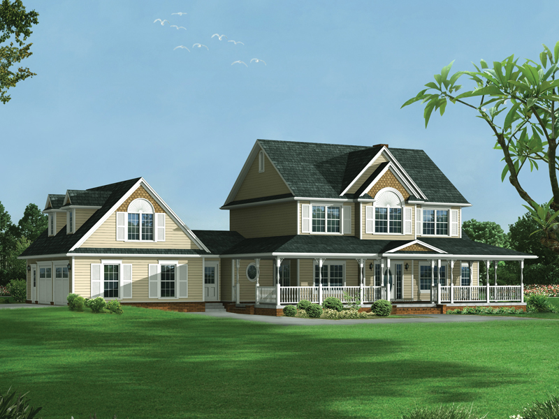 Farmhouse Style Two Story Hoouse Has Garage With Dormers On Side