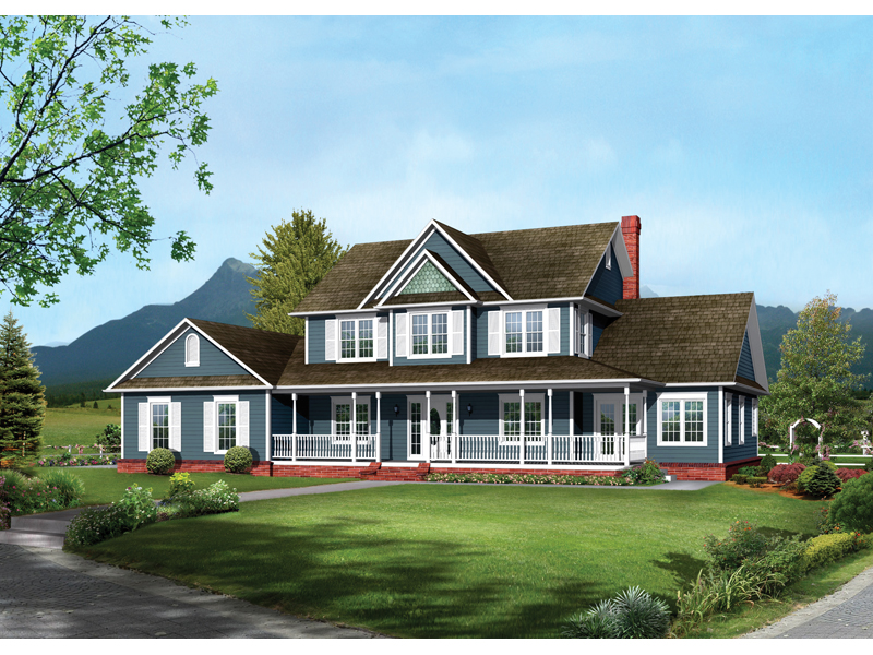 farmhouse style two story has inviting covered front porch