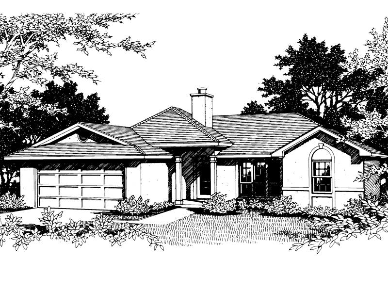 Simple Stucco Ranch Style House