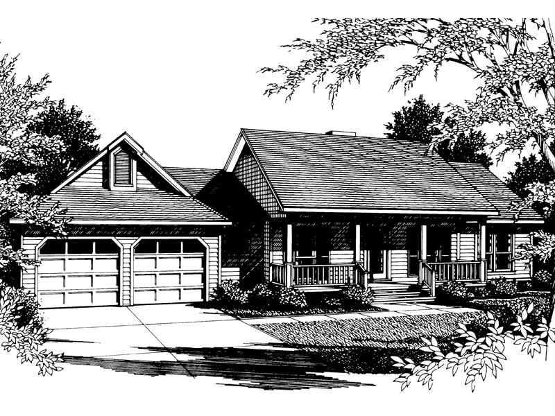 Country Ranch Style House Has Covered Front Entry Porch