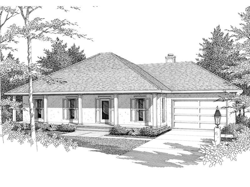 Sleek Columns Define The Porch Of This Ranch